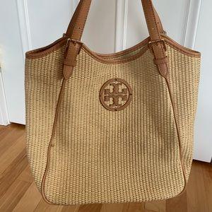 TORY BURCH Designer Shoulder Bag Straw Texture